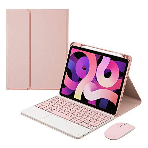 Funda con teclado para iPad Air 4 Gen 10,9 pulgadas 2020 – Diseño de EE. UU. 7 colores retroiluminados Teclado Bluetooth inalámbrico desmontable con Touchpad, Ratón Bluetooth, Rosa, sin Backlit