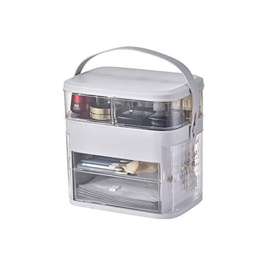 LASIMAO Caja de Almacenamiento de Maquillaje, Caja de cosméticos de Escritorio, Caja de Soporte a Prueba de Polvo Caja de Maquillaje de Cuidado de la Piel Organizador de joyería,Blanco