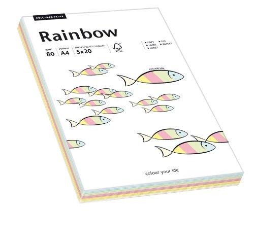 Papyrus 88043187 Drucker-/Kopierpapier, Bastelpapier Rainbow: 80 g/m², A4, 100 Blatt Mixed Pastell (rot, orange, gelb, blau, grün)