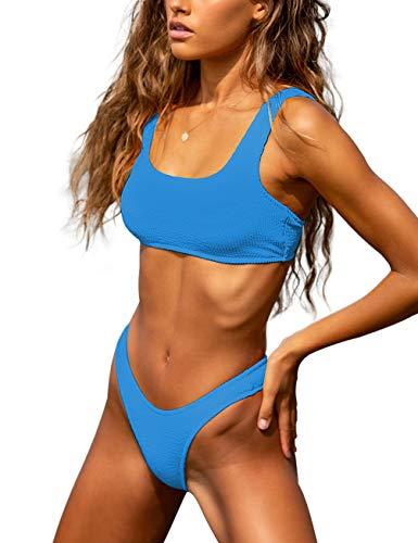 Frecher Bikini, hoher Schnitt, bauchfreies Top, Badeanzug, Tanga, Badeanzug, zweiteilig - - Medium