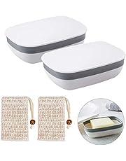 Queta Jabonera de Viaje Cajas de Jabón con Fuerte Sellado, Caja de Jabón Plástico Portátil para Baño Viaje Senderismo Camping (Blancas)