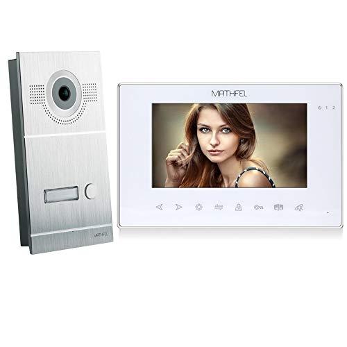 2 Draht Video Türsprechanlage Gegensprechanlage Fischaugenkamera 170 Grad, Farbe: Silber, Größe: 1x7'' Monitor in weiß