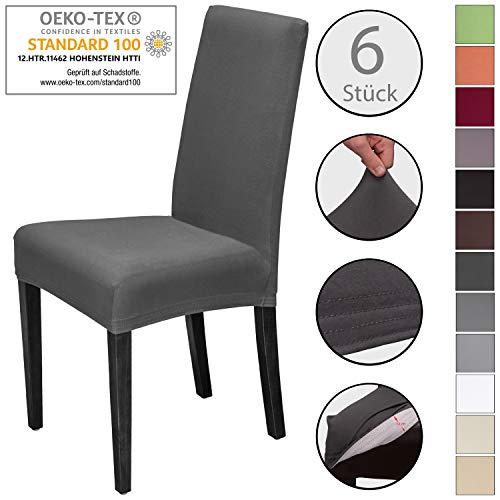 Staboos Stuhlhussen 6er Set aus 96% Baumwolle - Bi-elastische Stretch Stuhlüberzüge - Universal Stuhlbezug - Stuhlabdeckung waschbar & bügelfrei, Dunkelgrau