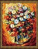 WLYUE W384 Pintura de flores coloridas por números sobre lienzo, decoración nórdica, pintura acrílica para pared para sala de estar, regalos de Navidad