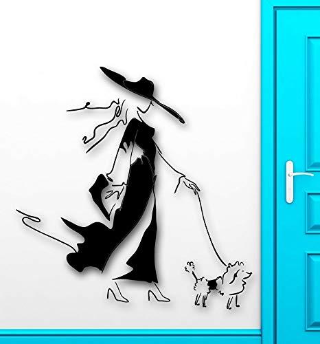 Kjlfow Chica de Moda calcomanía de Pared Estilo de Moda Perro Vinilo Pared Pegatina hogar Tienda decoración Pintura Tienda de Mascotas Mural 113x115cm