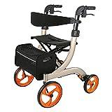 HUAQINEI Caminante autopropulsado de Cuatro Ruedas para Ancianos, Carrito de Compras, Carrito Plegable portátil, Altura del Respaldo Ajustable y Bolsa de Almacenamiento para Compras, el Mejor GIF