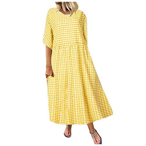 Kurze Kleider Lange Kleider Damen Sommer Sommerkleider Kurz Sommerkleider Lange Kleider Abendkleider Lang Grosse Grössen Kleider Mollige Frauen Umstandskleider Sommerkleider Mädchen(Gelb,L)