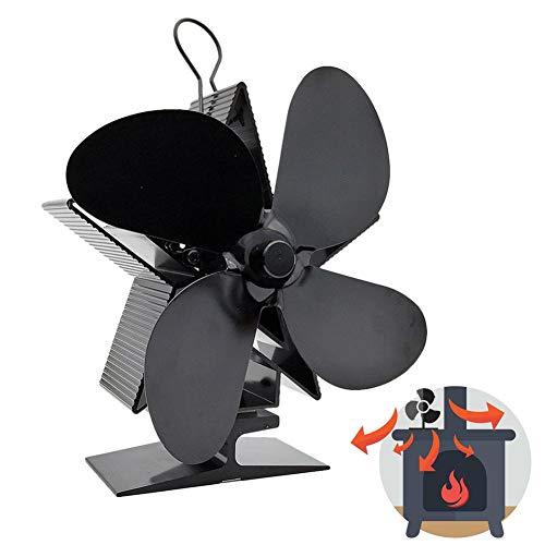 Onlyonehere Ofenventilator, Stromloser 4 Lüfter Blade Wärmebetriebene Lüfter Powerless Fan für Kaminöfen Log Burner Fire