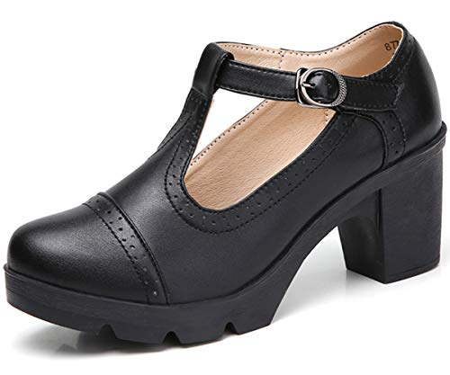 DADAWEN Women's Classic T-Strap Platform Mid-Heel Square Toe Oxfords Dress Shoes Black US Size 7