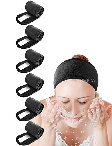 Spa Headband Hair Wrap Pack of 6 All Black EUICAE Sweat Headband Head Wrap Hair Towel Wrap Non-slip Stretchable Washable Makeup Headband for Face Wash Facial Treatment Sport Fits