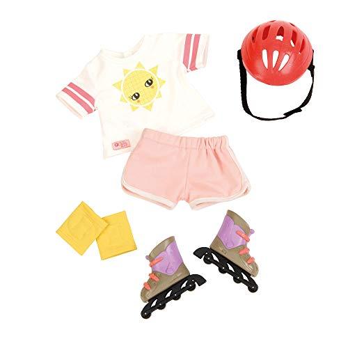Our Generation 44557 Rollerblades & Outfit Puppenkleidung, Outfit, mit Helm Inliner, Knieschützer, T-Shirt und Hose, bunt