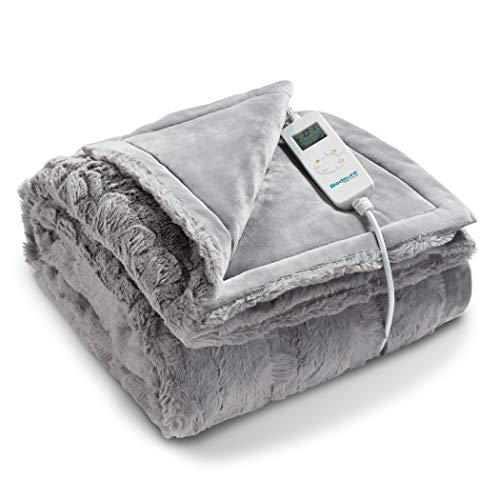 Bedsure Heated Blanket Throw Electric - with 6 Heat Setting, Fast - Heating Blanket 1/2/3/4 H Timer Auto - Off, Low Voltage Fuzzy Super Soft Flannel Fleece Throw Blanket, 50 x 60 inch Grey
