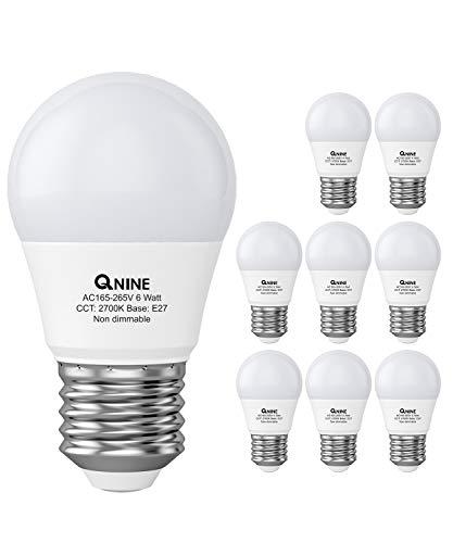 QNINE LED Leuchtmittel E27 Warmweiss(2700K), 8 Stück, 6W(ersetzt 40W-50W Glühbirne), 540 Lumen, Nicht Dimmbar, Ersatz für Energiesparlampe, Led Lampe/ Birnen in Tropfenform [Energieklasse A+]