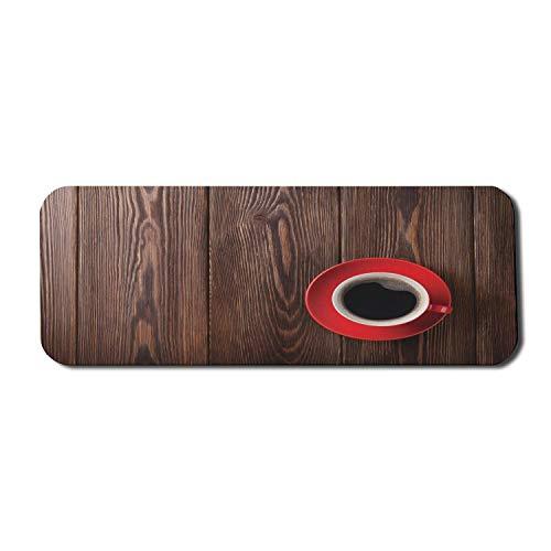 Kaffee Computer Mauspad, Frischer Kaffee in einem Becher Cafe Art Image Rustikaler Holzhintergrund Geröstete frische Bohnen, Rechteck rutschfestes Gummi-Mauspad Großes Braunrot