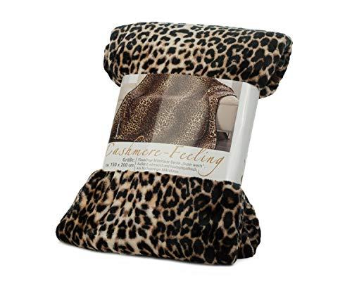 Gözze 40087-72-5020 Leopard - Manta (Lavable, Microfibra, Certificado Conforme a la Norma Oeko-Tex Standard 100, 150 x 200 cm), diseño de Estampado de Leopardo
