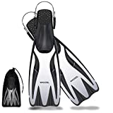 WACOOL Professional Long Blade Fins Flippers Freediving Speafishing for Snorkeling Diving Scuba or Swimming Training (White,L-XL)