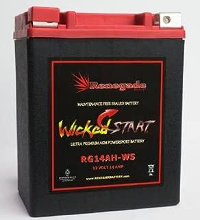 RG14AH-WS; 400 Cold Cranking Amps; Polaris (2012, 2013, 2014, 2015, 2016, 2017) Ranger 570, 570 Crew, 570 EFI, 570 EPS battery / (2011, 2012, 2013, 2014) Ranger 4x4 400 battery