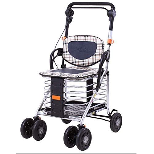 KAD de Peso Ligero Plegable Ajustable Walker Conducción Tratamiento Médico, de Compras de Ancianos Puede Tomar un Coche de Aleación de Aluminio de Viajes de Cuatro Ruedas De-Walker pesado 🔥