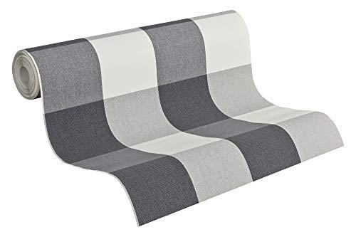A.S. Création Vliestapete Elegance Tapete mit textilartiger Oberfläche kariert 10,05 m x 0,53 m grau weiß Made in Germany 206367 2063-67