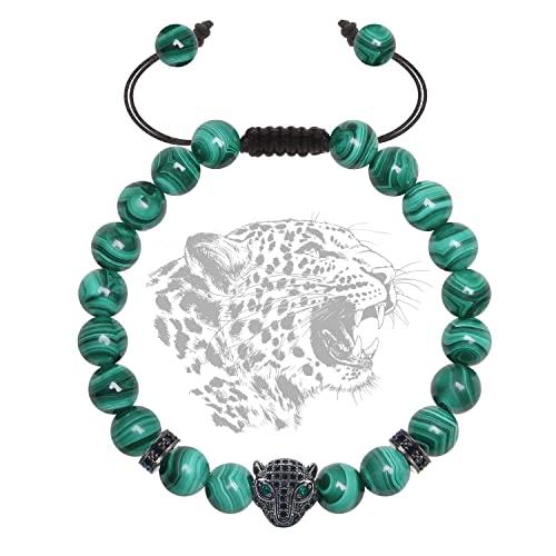 J. Fée Pulsera de piedra natural ajustable, pulsera de perlas de 8 mm y 6 mm para mujer, pulsera de hombre, pulsera de piedras preciosas, regalo de Navidad, etc, Piedra,
