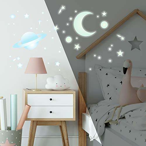 Stickers Repositionnables Planetes et Constellations d'étoiles Photoluminescentes