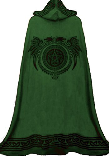 Dark Dreams Mittelalter Gothic Ritual Umhang Celtic Spirit, Größe:freesize;Farbe:schwarz/grün