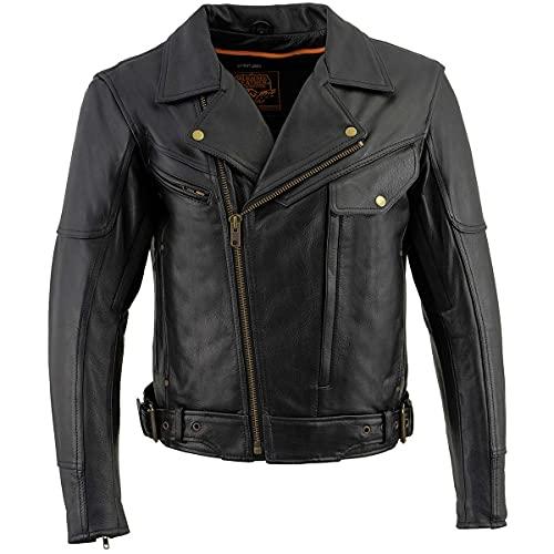 Milwaukee Leather LKM1770 Men's Black Leather Jacket with Belt Utility Pocket - X-Large