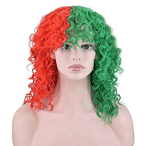 LIQIONG Medio Peluca Verde roja con Flequillo Largo Rizado Ondulado sintético Resistente al Calor Cosplay Pelucas para Mujeres