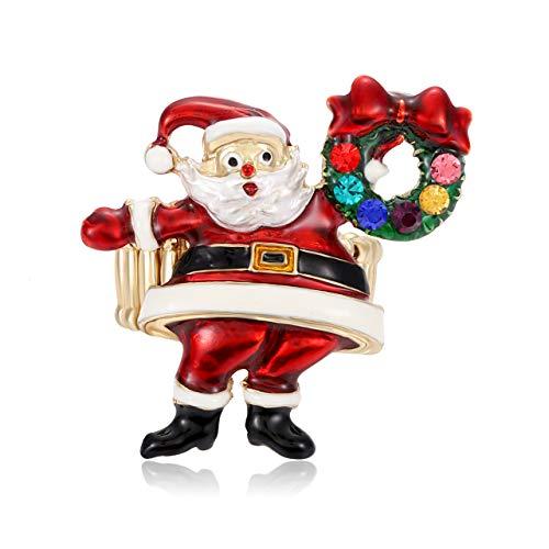 Christmas Ring Handmade Xmas Tree Santa Claus Berry Fern Mistletoe Elastic Stretch Rings Holiday Rhinestone Ring Jewelry (Santa Claus)