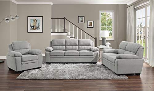 Lexicon Vega 3 Piece Living Room Set, Light Gray