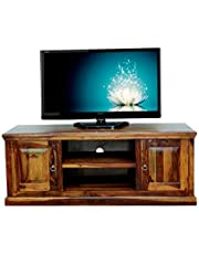 Rootwood Pure Sheesham Wood Brown TV Stand Storage Table | Teak Finish
