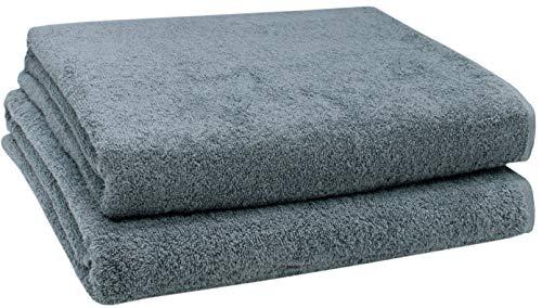 ZOLLNER 2er Set Badetücher, 100x150 cm, 100% Baumwolle, 420g/qm, grau