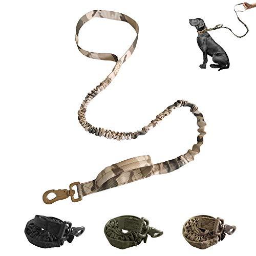 bobipaw Militärische Hundeleine, taktische Bungee-Hundeleine mit 2 Sicherheitsgriffen, Service-Hundeleine für Training, Jagd, Spazierengehen, etc., weich gepolstert, stoßdämpfend, robuster Verschluss