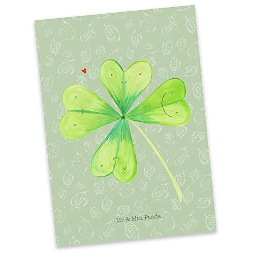 Mr. & Mrs. Panda kaart, uitnodiging, Ansichtkaart Klaverblad - Kleur bladgroen