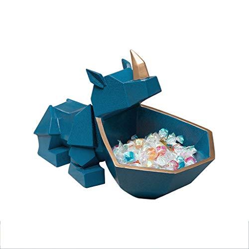 Tingting1992 Plato de Fruta en Forma de Rinoceronte, Plato de Fruta de Resina, Plato de Fruta Estilo Origami geométrico nórdico, Decoración para el hogar,Multifuncional (Color : Blue)