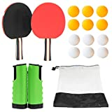 Table Tennis Set - Portable Ping Pong Set with Retractable Net, Ping Pong Paddles Set of 2, 12 Balls and Carry...
