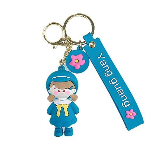 Xboipihkkiy Portachiavi, nuovo carino uniforme bambina portachiavi ciondolo semplice portachiavi anello ragazzo ragazza miglior compleanno regalo di Natale-ragazza blu