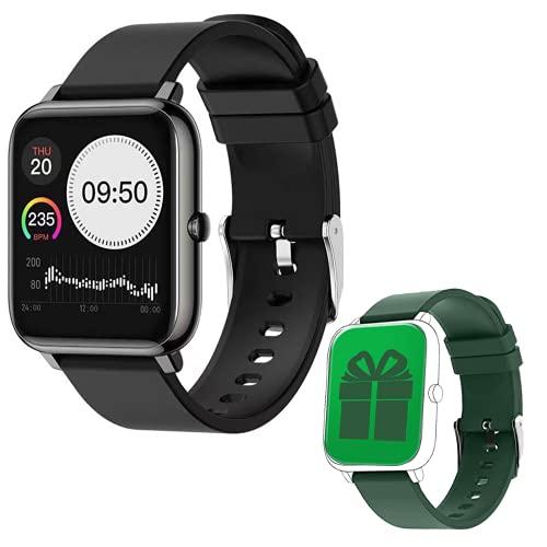 W3 Smartwatch für Damen & Herren Full Touch Screen - Fitnessuhr: Multisport Fitness Tracker, Schrittzähler, Pulsuhr, Schlafmonitor, Stoppuhr, Wasserdicht, Zusatzarmband - Android & iOS