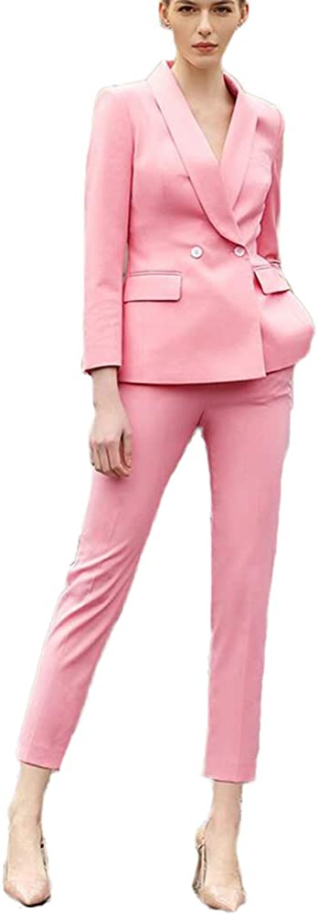 Women's Slim Fit Pink 2 Pieces Business Suit Set Lady Office Suit for Work