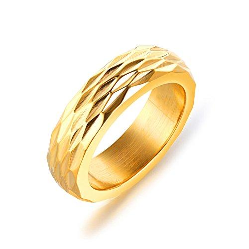 Daesar Gothic Herren Ringe Edelstahl Hochglanzpoliert Rund Breite 6 MM Partnerring Punk Ring Gold Größe 65 (20.7)