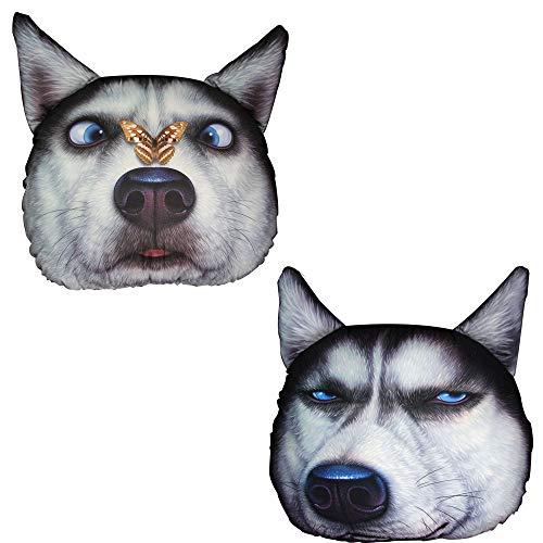 Cabeza de perro almohada Cojín decorativo 3D Cabeza de perro Dibujos animados...