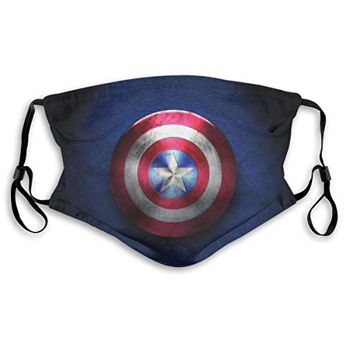 Super Captain Heros Outdoor Mask,America Shield Protective 5-Layer Activated Carbon Filters Adult Men Women Bandana Shield