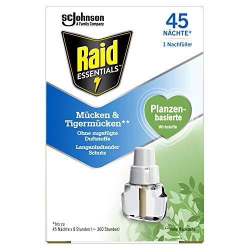 Raid Essentials Mücken-Stecker 45 Nächte Nachfüller, Elektrischer Insekten-Schutz vor Mücken und Tigermücken, 1er Pack (1 x 32 ml)