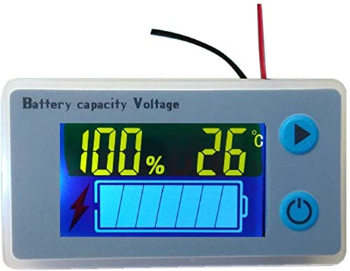 CPTDCL Multifunctional 10100V LCD Battery Capacity Monitor Gauge Meter Voltmeter with Temperature Display