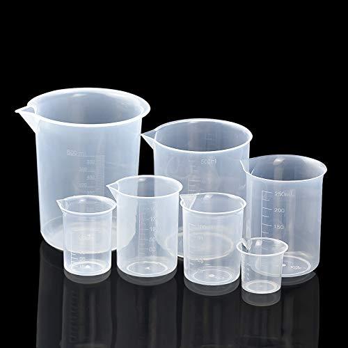 HENTEK 7 Pezzi Misurino Graduato Trasparente 600ml 500ml 250ml 150ml 100ml 50m 25ml Misurino di Plastica per Misuratore Laboratorio Becher