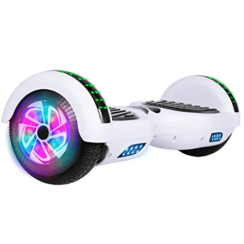 Felimoda 6.5 Inch Self Balancing Hoverboards Scooter Two Wheel Balance Board with LED Light Built-in Wireless Speakers and -UL2272 Certified (White)