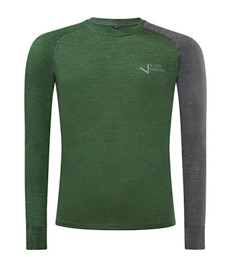 Black Crevice Camiseta Interior de Lana Merino Ropa Funcional, Hombre, Verde/Gris, M