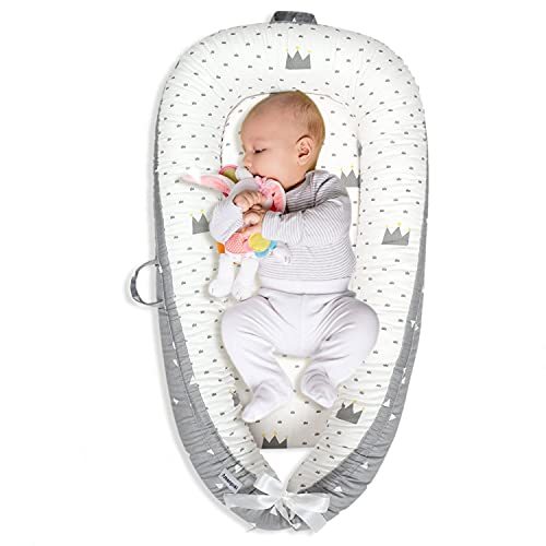 Baby Lounger Baby Nest for Baby Co-Sleeping, Amenpoki 100% Cotton Reversible Infant Lounger Bed, Soft Breathable Newborn Lounger Crib for Napping and Cosleeping, Suitable for 0-12 Months Infant