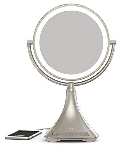 iHome - Espejo de maquillaje LED, 2 lados, 2 luces LED, luz natural LED brillante, espejo de vanidad de doble cara con aumento 7x, altavoz manos libres Bluetooth, cargador de audio y teléfono Bluetooth.