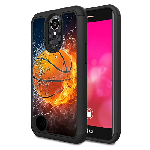 Rossy - Funda para LG K20 V/K20 Plus/K10 2017/Harmony/V5, resistente TPU híbrido de doble capa de plástico para LG K10 2017, Thunder Water Fire Baloncesto